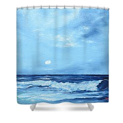 Moon Light Night Wave Shower Curtain