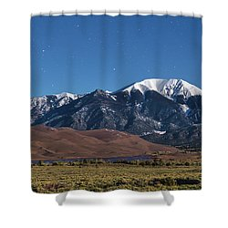 Moon Lit Colorado Great Sand Dunes Starry Night  Shower Curtain by James BO Insogna