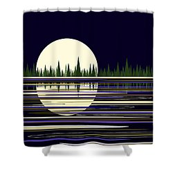 Shower Curtain featuring the digital art Moon Lit Water by Val Arie