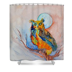 Moon Magic Owl Shower Curtain by Beverley Harper Tinsley