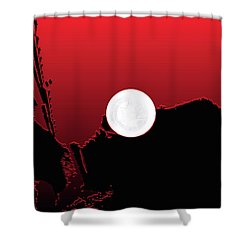 Moon On Abstract World Shower Curtain by Bruce Iorio