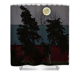 Shower Curtain featuring the photograph Moon Over A Kansas Barn by Mark McReynolds