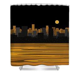 Moon Over City Skyline Shower Curtain