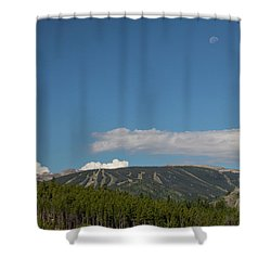 Shower Curtain featuring the photograph Moon Over Eldora Summer Season Ski Slopes by James BO Insogna