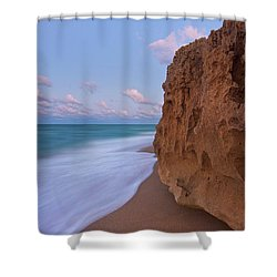 Moon Over Hutchinson Island Beach Shower Curtain by Justin Kelefas