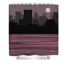 Moon Over Manhattan - A Different View Shower Curtain by Val Arie
