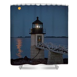 Shower Curtain featuring the photograph Moon Over Marshall Point by Rick Berk