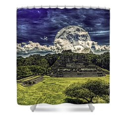 Moon Over Mayan Temple Two Shower Curtain by Ken Frischkorn