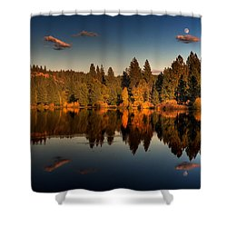 Moon Over Mill Pond Shower Curtain by Mick Burkey