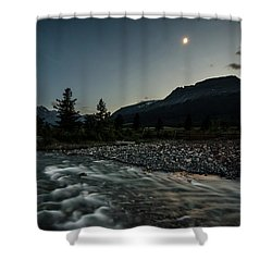 Moon Over Montana Shower Curtain