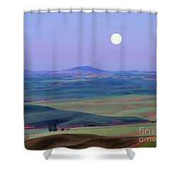 Moon Over Mountain 1 Shower Curtain