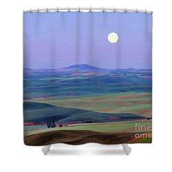 Moon Over Mountain 1 Shower Curtain