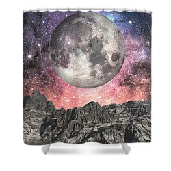 Shower Curtain featuring the digital art Moon Over Mountain Lake by Phil Perkins