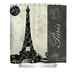 Moon Over Paris Postcard Shower Curtain by Mindy Sommers