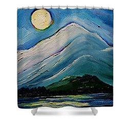 Moon Over Pioneer Peak Shower Curtain