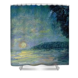 Moon Over Pt Dume Shower Curtain