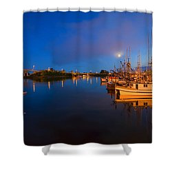 Moon Over Sitka Marina Shower Curtain by Mike  Dawson