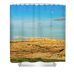 Moon Over The Badlands Shower Curtain