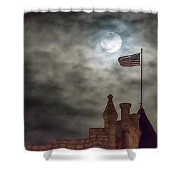Moon Over The Bank Shower Curtain by Rob Graham