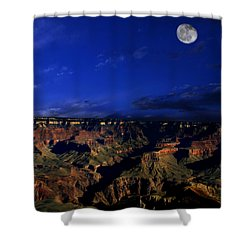Moon Over The Canyon Shower Curtain by Anthony Jones