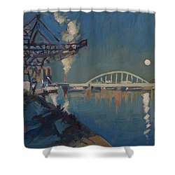 Moon Over The Railway Bridge Maastricht Shower Curtain