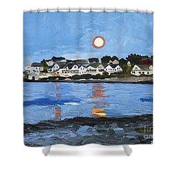 Moon Over York Beach Shower Curtain