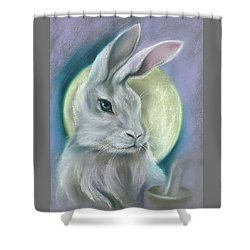 Shower Curtain featuring the pastel Moon Rabbit by MM Anderson
