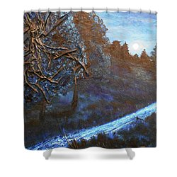 Shower Curtain featuring the mixed media Moon Rise  by Angela Stout
