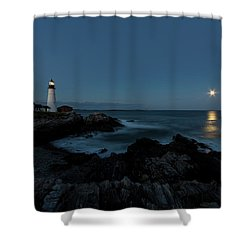 Moon Rise At Portland Headlight Shower Curtain
