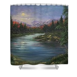 Moon Rise On The Lake Shower Curtain by Laila Awad Jamaleldin