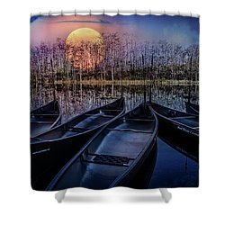 Shower Curtain featuring the photograph Moon Rise On The River by Debra and Dave Vanderlaan
