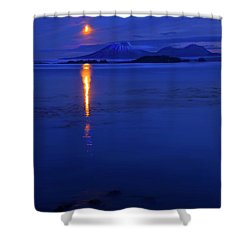 Moon Rise Over Mt. Edgecumbe Shower Curtain by Mike  Dawson