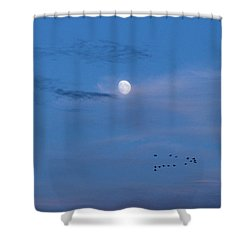 Moon Rises Geese Fly Shower Curtain