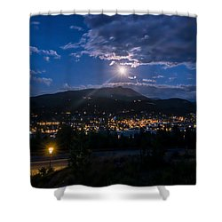Moon Rising Over Breckenridge Shower Curtain