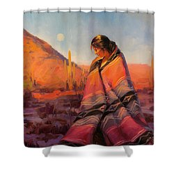 Shower Curtain featuring the painting Moon Rising by Steve Henderson