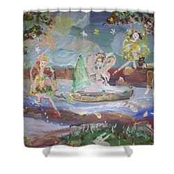 Shower Curtain featuring the painting Moon River Fairies by Judith Desrosiers
