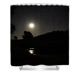 Shower Curtain featuring the photograph Moon Set Over Palm Valley 2 by Paul Svensen