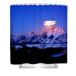 Moon Sets At The Snake River Overlook In The Tetons Shower Curtain by Raymond Salani III