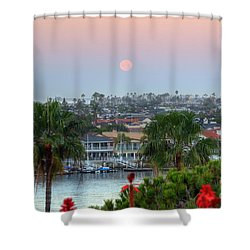 Full Moon Setting In Corona Del Mar Shower Curtain by Eddie Yerkish