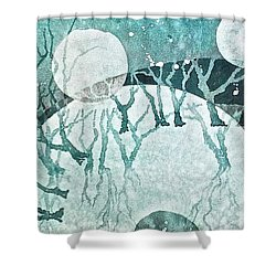 Shower Curtain featuring the painting Moon Shadows by Carolyn Rosenberger