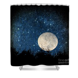 Moon, Tree And Stars Shower Curtain