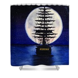 Moon Voyage Shower Curtain