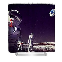 Shower Curtain featuring the digital art Moon Walk by Methune Hively