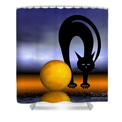 Mooncat's Play With The Fullmoon Shower Curtain