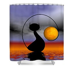 Mooncat's Waiting  Shower Curtain