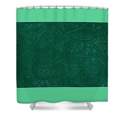 Moonfish Drawing Negative Green Chalk Shower Curtain