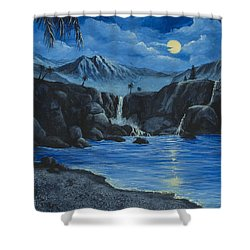 Shower Curtain featuring the painting Moonlight And Waterfalls by Darice Machel McGuire