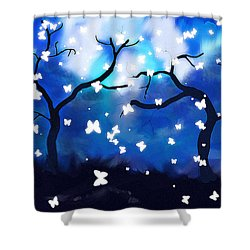 Shower Curtain featuring the painting Moonlight Butterflies by Patricia Arroyo