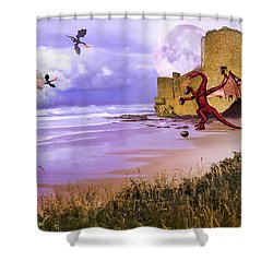 Moonlight Dragon Attack Shower Curtain by Diane Schuster
