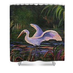Moonlight Egret Shower Curtain